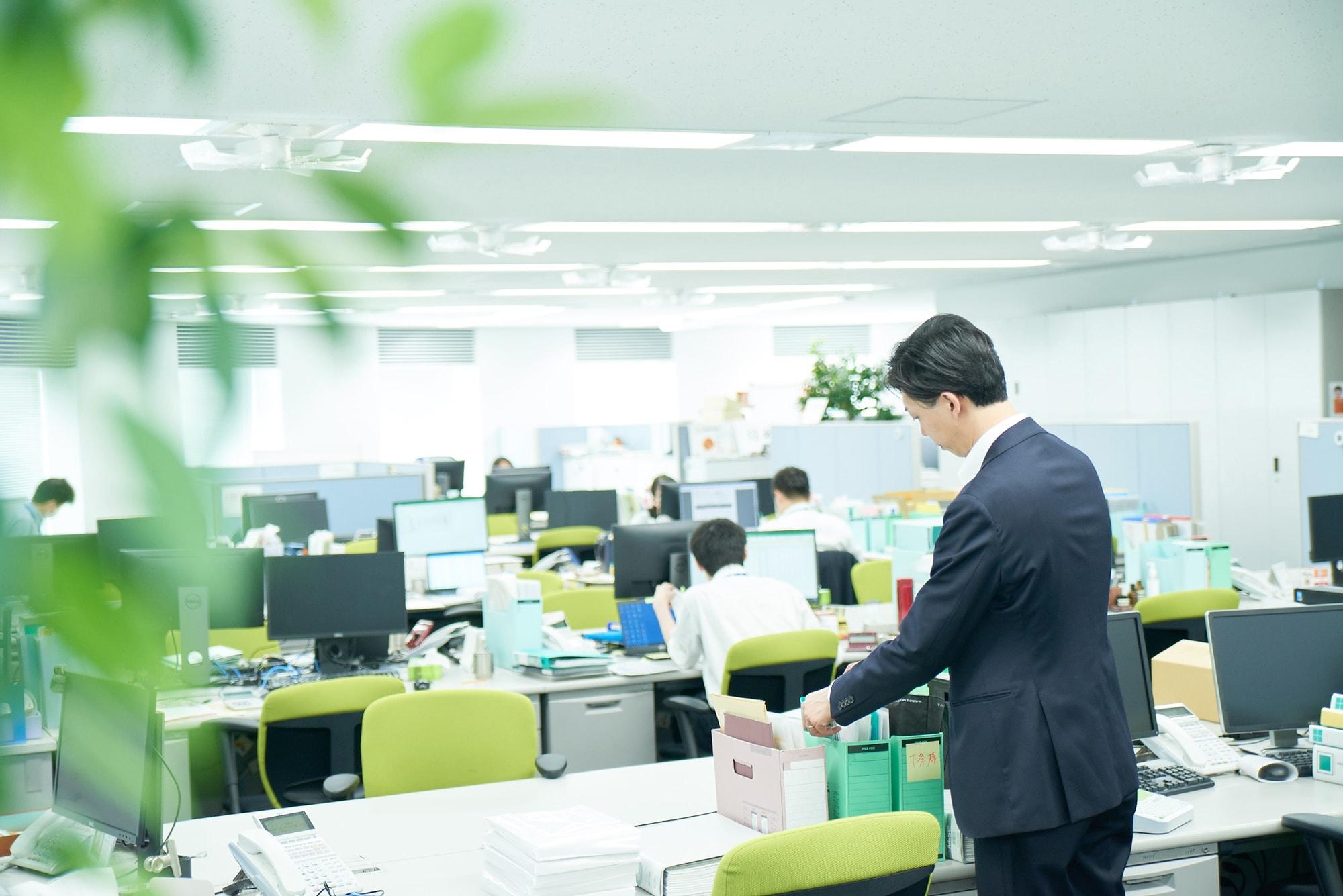 赤坂事務所のオフィスフロア。2階、3階、6階までほぼおなじレイアウトです。