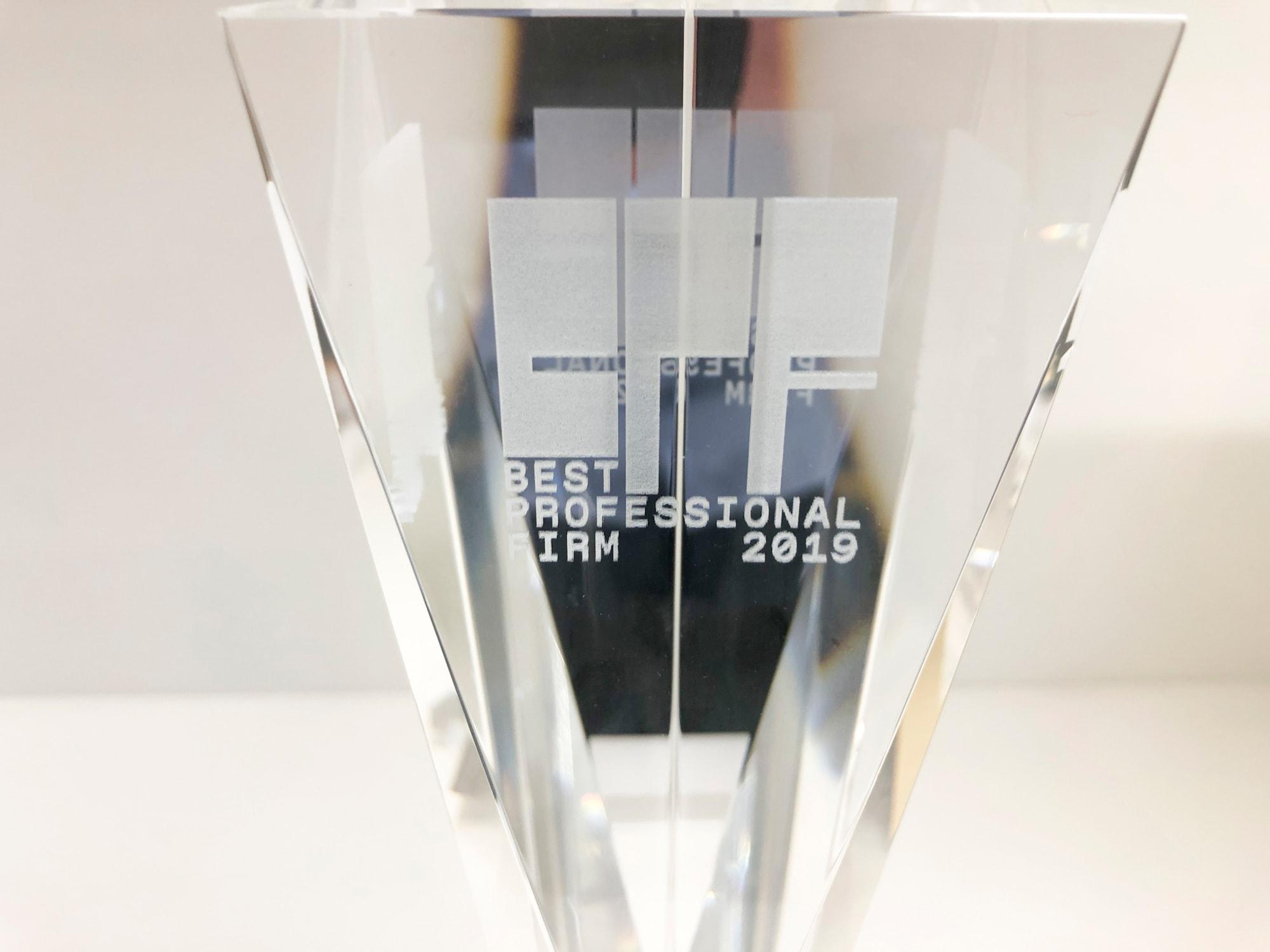 株式会社MS-Japan主催の特に優れた会計事務所等を表彰する「BEST PROFESSIONAL FIRM 2019」にアクタス税理士法人が選出されました。2019年は国内約4,000事務所から73社が選出されました。